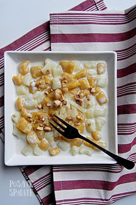 Gnocchi di patate e zucca con fonduta di castelmagno e nocciole