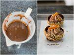 Mezze sfere di cioccolato con nocciole e ganache montata
