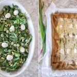 Crostata salata con asparagi e feta e l'insalatina con uova di quaglia