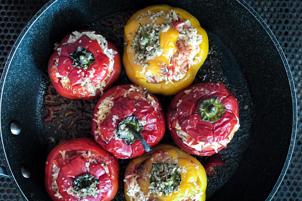 Peperoni ripieni riso vegetariani_Posate Spaiate